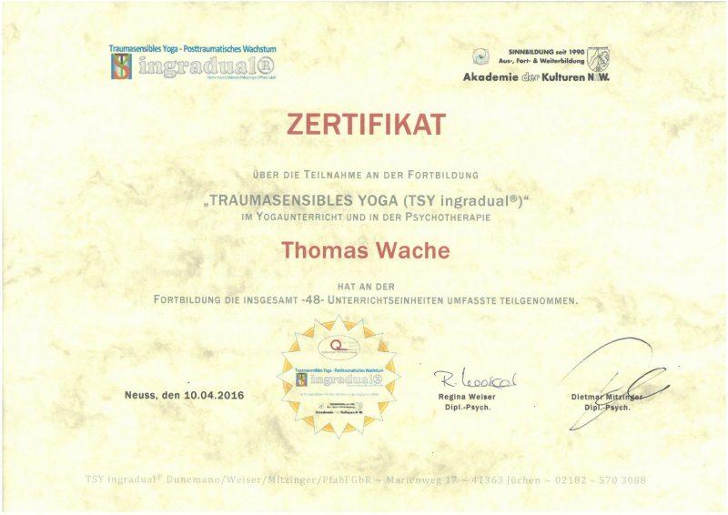 Thomas Wache Traumasensibles Yoga (TSY) Zertifikat
