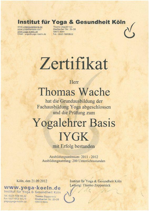Thomas Wache Yogalehrer IYGK